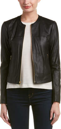 Via Spiga Mixed Media Leather-Trim Jacket