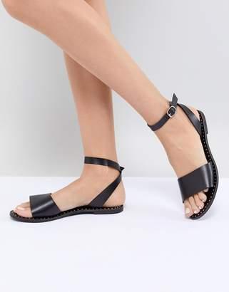 Steve Madden Danny Black Leather Flat Sandals