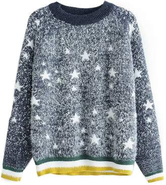 Goodnight Macaroon 'Kelly' Star Pattern Furry Sweater