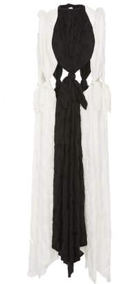 Jonathan Cohen Asymmetric Paneled Silk And Cotton Scarf Dress