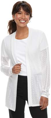 Croft & Barrow Petite Pointelle Open Front Cardigan