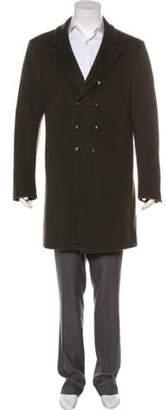 John Varvatos Double-Breasted Virgin Wool Overcoat olive Double-Breasted Virgin Wool Overcoat