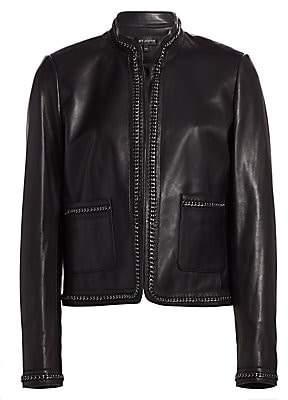St. John Women's Chain-Trimmed Leather Jacket
