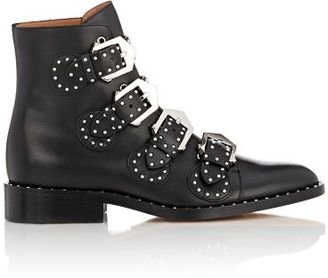 Givenchy Women's Studded Buckle-Strap Ankle Boots-BLACK $1,395 thestylecure.com