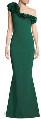 Chiara Boni Elisir One-Shoulder Gown w/ Organza Ruffle