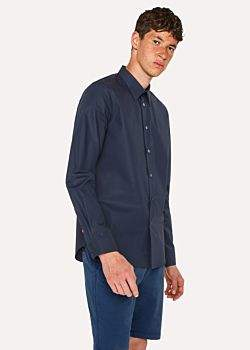 Paul Smith Men's Tailored-Fit Navy Cotton Contrast-Cuff Shirt