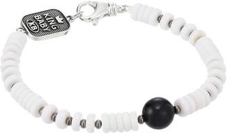 King Baby Studio - White Shell Bead Bracelet with a Round Onyx Bead Bracelet $215 thestylecure.com