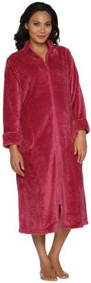 Stan Herman Silky Plush Trimmed Wave Long Zip Robe