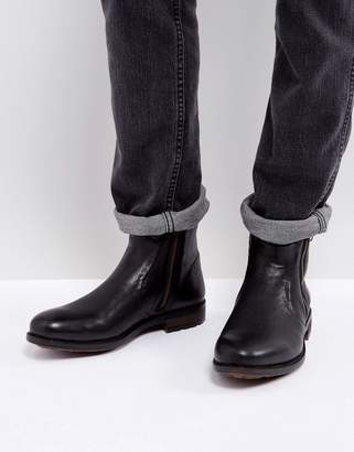 Steve Madden Lydon Leather Zip Boots In Black