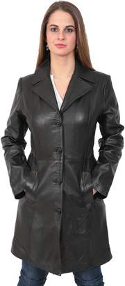 M·A·C A1 FASHION GOODS Ladies Fitted 3/4 Length Real Leather Jacket Womens Mac Style Coat Cynthia