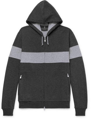 Brunello Cucinelli Striped Cotton-Blend Jersey Zip-Up Hoodie - Anthracite