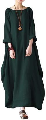 BIUBIU Women's Linen Cotton Loose Maxi Dress Vintage 3/4 Sleeve Kaftan Plus Size 5XL
