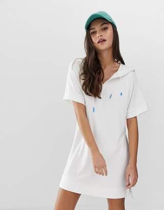 Polo Ralph Lauren Terry hooded beach dress in white