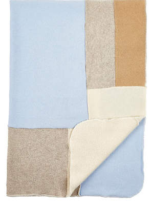 Agua Patchwork Cashmere Baby Blanket - Blue