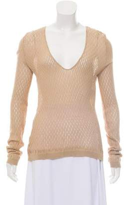 CNC Costume National Open Knit Scoop Neck Top
