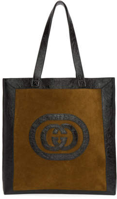 Gucci Brown & Black Large Suede Ophidia Tote
