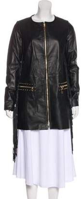 Thomas Wylde Leather Fringe-Accented Coat w/ Tags