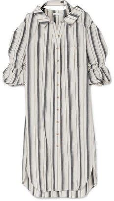 DAY Birger et Mikkelsen REJINA PYO - Amber Striped Cotton And Linen-blend Shirt Dress - Blue