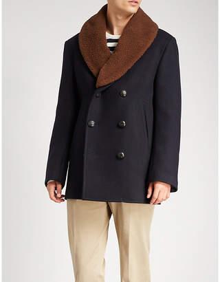 Brioni Shearling collar cashmere coat