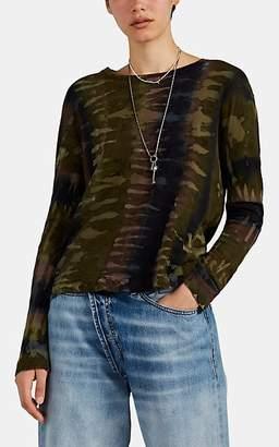 Raquel Allegra Women's Tie-Dyed-Camouflage Cotton Long-Sleeve T-Shirt - Green