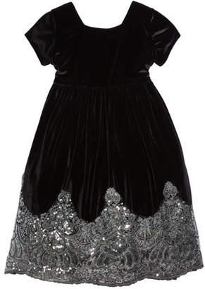 Isabel Garreton Sparkle-Hem Velvet Tie-Back Holiday Dress, Size 4-6