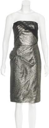 Lela Rose Metallic Strapless Dress