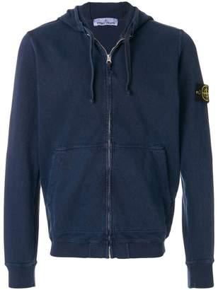 Stone Island logo patch zipped hoodie