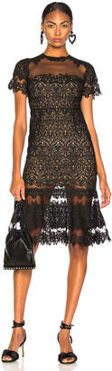 Jonathan Simkhai Lace Sheer Ruffle Dress