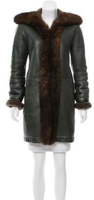 Balenciaga Shearling Fur-Trimmed Coat