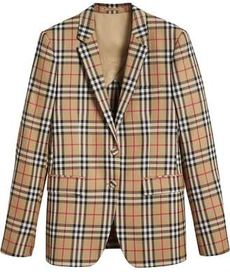 Burberry Vintage Check Wool Tailored Jacket