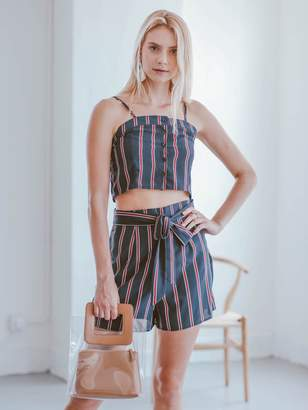 Goodnight Macaroon 'Elliott' Striped Top and Shorts Two Piece Set