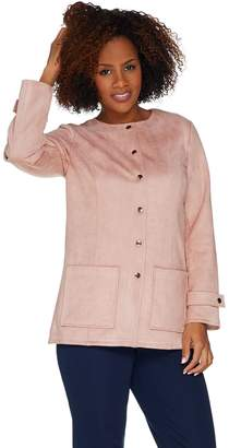 Bob Mackie Bob Mackie's Faux Suede Snap Front Jacket