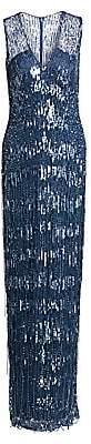 Pamella Roland Women's Sequin & Fringe Gown