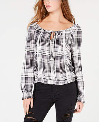 American Rag Juniors' Plaid Crisscross Peasant Top