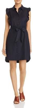 T Tahari Pinstriped Ruffle-Trim Shirt Dress