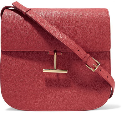 Tom FordTOM FORD - T Clasp Textured-leather Shoulder Bag - Brick