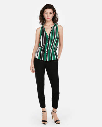 Express Striped Cinched Waist Sleeveless Shirt