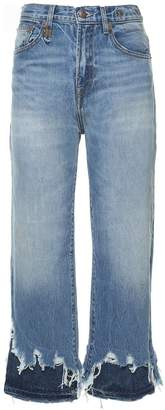 R 13 Camille Layered Frayed-cuffs Jeans