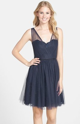 Women's Monique Lhuillier Bridesmaids Tulle Overlay Lace Fit & Flare Dress $298 thestylecure.com