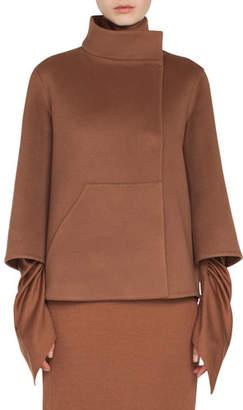 Akris Rafael Stand-Collar Bracelet-Sleeve Cashmere Topper Jacket