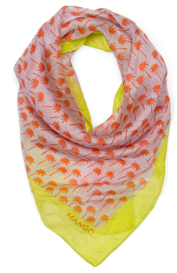 MANGO Silk palm trees printed scarf