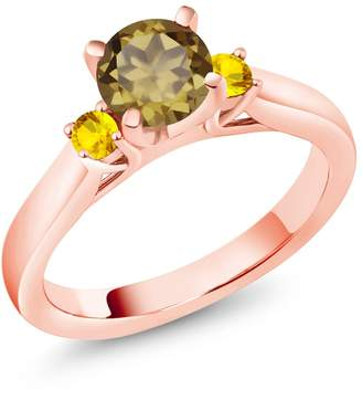 Gem Stone King 1.07 Ct Whiskey Quartz Yellow Sapphire 18K Rose Gold Plated Silver 3-Stone Ring