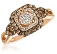 LeVian Chocolatier® Chocolate & Vanilla Diamond® Framed Cluster Ring