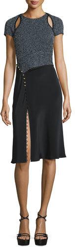 3.1 Phillip Lim3.1 Phillip Lim Short-Sleeve Combo Sheath Dress, Navy
