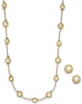 Charter Club Gold-Tone 2-Pc. Set Polished Sphere Statement Necklace and Stud Earrings