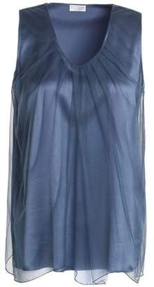 Brunello Cucinelli Gathered Tulle And Stretch-Silk Satin Top