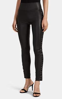 Sprwmn Women's Lace-Up Leather Pants - Black