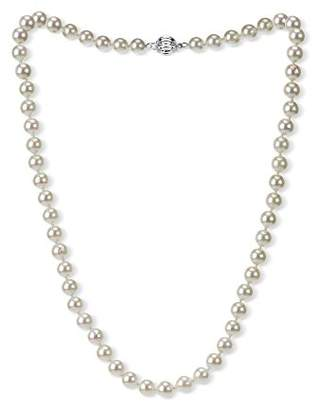 14k Gold 7-7.5mm AAAA Hand-Picked Japanese Akoya Cultured Pearl Ball Clasp Necklace