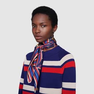 Gucci Scarf with Interlocking G ribbon print