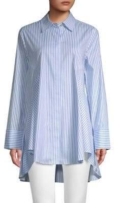 Donna Karan Striped High-Low Button-Down Shirt